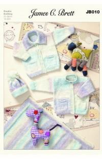 James C Brett 010 Cardigans, Hat and Blanket in Baby Marble DK (leaflet)