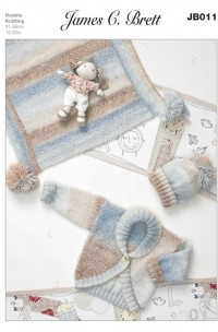 James C Brett 011 Cardigan, Hat and Blanket in Baby Marble DK (leaflet)