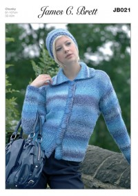 James C Brett 021 Cardigan and Hat in Marble Chunky (leaflet)