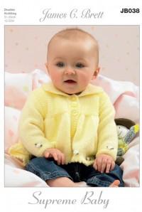 James C Brett 038 Jacket, Dress, Hat and Blanket in Supreme Baby DK (leaflet)