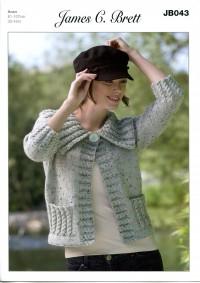 James C Brett 043 Jacket in Rustic With Wool Aran or Aran With Wool (leaflet)