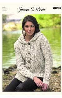 James C Brett 045 Hooded Jacket in Rustic With Wool Aran (leaflet)