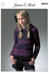 James C Brett 049 Hooded Sweater in Marble Chunky (leaflet)