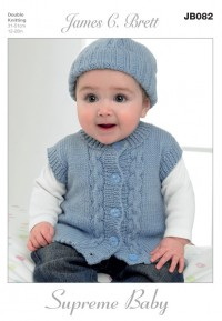 James C Brett 082 Cardigan, Waistcoat, Hat and Mittens in Supreme Baby DK (leaflet)