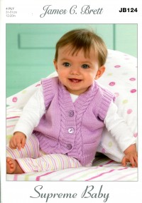 James C Brett 124 Slipovers and Waistcoats in Supreme Baby 4 Ply (leaflet)