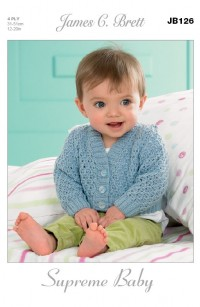 James C Brett 126 Cardigans and Waistcoats in Supreme Baby 4 Ply (leaflet)