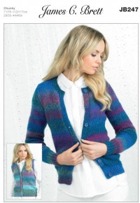 James C Brett 247 Cardigan and Waistcoat in Marble Chunky (leaflet)