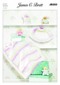 James C Brett 283 Baby Cape, Blanket and Hat in Baby Marble DK (leaflet)