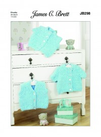 James C Brett 298 Baby Cardigan and Waistcoat in Icicle Chunky (leaflet)