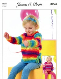 James C Brett 340 Girls Sweater and Tunic in Party Time Chunky (leaflet)