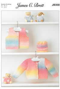 James C Brett 358 Cardigan, Waistcoat and Hat in Baby Marble DK (leaflet)
