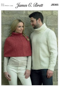 James C Brett 365 Man's Sweater and Lady's Cape in with Wool Aran or Rustic Aran (leaflet)