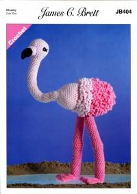 James C Brett 404 Flo the Flamingo Toy in Flutterby Chunky (leaflet)