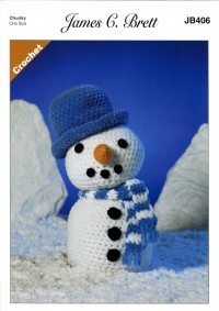 James C Brett 406 Frosty the Snowman Toy in Flutterby Chunky (leaflet)