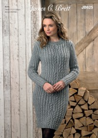 James C Brett 625 Sweater and Dress in Rustic with Wool Aran and Aztec Aran (leaflet)