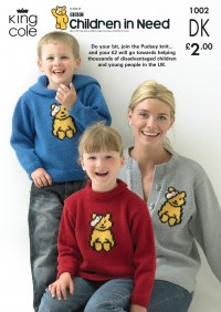 King Cole 1002 Pudsey Bear Sweaters and Cardigan in King Cole DK (leaflet)