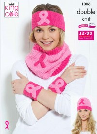 King Cole 1006 Pink Ribbon Headbands, Wristbands and Cowl in Big Value DK and Cottonsoft DK (leaflet)