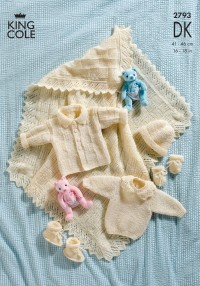 King Cole 2793 Jacket, Sweater, Hat, Mitts & Bootees, and Shawl in DK (downloadable PDF)