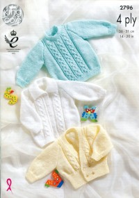 King Cole 2796 Sweater, Jacket and Cardigan in 4 Ply (downloadable PDF)
