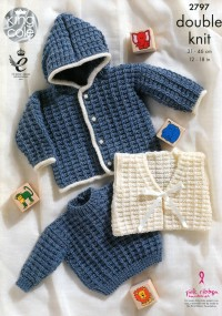 King Cole 2797 Sweater, Jacket and Gilet in DK (leaflet)