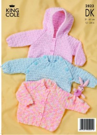 King Cole 2823 Sweater, Jacket and Sleeping Bag in DK (downloadable PDF)