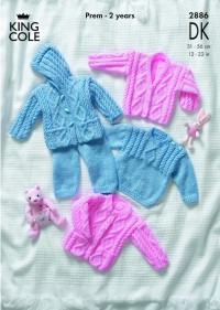 King Cole 2886 Sweater, Jacket, Trousers and Cardigan in DK (downloadable PDF)