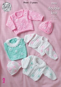 King Cole 2903 - Baby Cardigans, Sweater, Top, Bolero and Hat in DK (downloadable PDF)