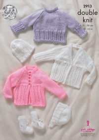 King Cole 2913 - Baby Sweater, Cardigans, Hat, Bootees and Bonnet in Big Value Baby DK (downloadable PDF)