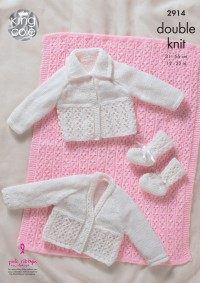 King Cole 2914 - Pram Blanket, Cardigans and Bootees in DK (downloadable PDF)