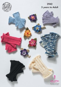 King Cole 2942 - Family Gloves and Corsage in 4 Ply, DK and Aran (downloadable PDF)