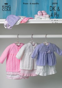 King Cole 2979 Matinee Coat and Bonnet in Baby DK & Baby 4 Ply (leaflet)