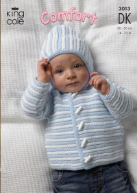 King Cole 3013 Baby Jacket, Sweater and Body Warmer in Comfort DK (downloadable PDF)