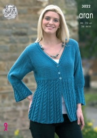 King Cole 3022 - Ladies Jacket and Coat Dress in Merino Blend Aran (downloadable PDF)