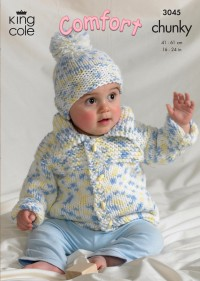 King Cole 3045 Baby Jacket, Sweater, Bolero and Hat in Comfort Chunky (leaflet)