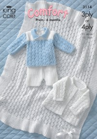 King Cole 3114 - Jacket, Sweater, Shorts and Shawl in Comfort 3 Ply, or 4 Ply (downloadable PDF)