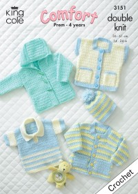 King Cole 3151 Baby Crochet Jacket, Sweater, Waistcoat and Hat in Comfort DK (downloadable PDF)