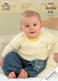 King Cole 3250 Baby Crochet Cardigan, Bolero, Waistcoat and Sweater in Comfort DK (downloadable PDF)