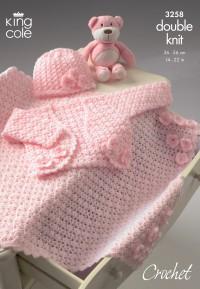 King Cole 3258 Bolero, Hat and Pram Blanket in Baby Comfort DK (leaflet)