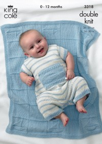 """King Cole 3318 Baby """"Little Boy Blue"""" Sweater, Pants, Romper and Blanket in Bamboo Cotton DK (downloadable PDF)"""