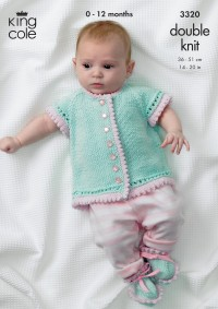 """King Cole 3320 Baby """"Girl's Own"""" Cardigan, Shoes and Pram Cover in Bamboo Cotton DK (downloadable PDF)"""