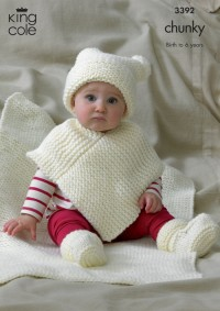 King Cole 3392 Babies Hat, Poncho, Bootees and Blanket in Comfort Chunky (downloadable PDF)