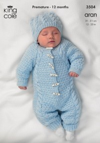 King Cole 3504 All-in-One, Coat, and Hat in Comfort Aran (downloadable PDF)