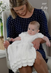King Cole 3537 Dress, Bolero, Bootees and Hat in Comfort 4 Ply (downloadable PDF)