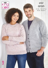 King Cole 3757 Cardigan and Sweater in Fashion Aran (leaflet)