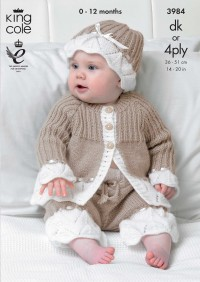King Cole 3984 Baby Jacket, Pants & Hat in Comfort 4 Ply or DK (downloadable PDF)