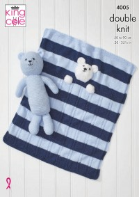King Cole 4005 Baby Blankets and Teddy Bear Toy in Comfort DK and Truffle (leaflet)