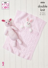King Cole 4006 Baby Blankets and Bunny Rabbit Toy in Comfort DK and Truffle (leaflet)