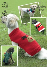 King Cole 4115 Christmas Dog Coats in DK  (downloadable PDF)