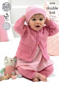 King Cole 4195 Coat, Hat and Leggings in Cherish and Cherished DK (leaflet)