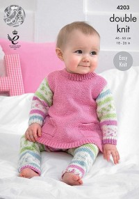 King Cole 4203 Tunic, Cardigan and Leggings in Cherish DK, and Cherished DK (downloadable PDF)